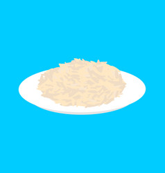 Brown rice cereal in plate isolated healthy food vector
