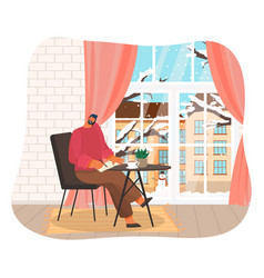businessman working at home at a table flat design vector image