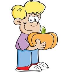 Cartoon boy holding a pumpkin vector image