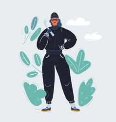 Cartoon female thief in vector