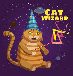 cat wizard character background stars of the vector image