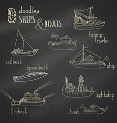 chalk doodles ship and boat icons set vector image