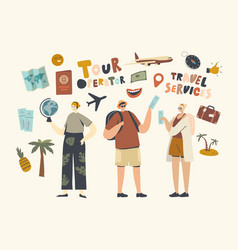 characters visit travel agency buy tour for going vector image