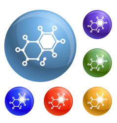 chemical element molecule icons set vector image