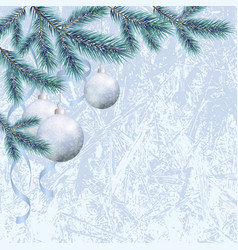christmas background with fir and balls vector image