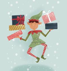 Christmas elf holding santa claus gifts vector