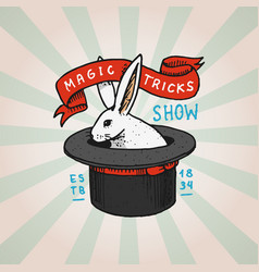 circus rabbit in cylinder hat badge retro cute vector image