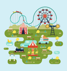 Circus with attractions or amusement park map vector