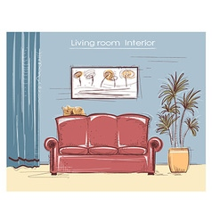 Color sketchy interior of living room hand d vector