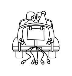 Couple car just married outline vector