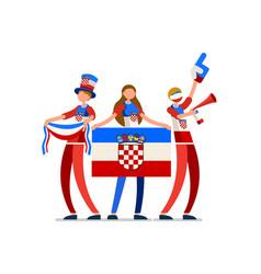 Croatia flag croatian people vector