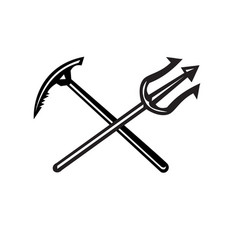 Crossed mountain ice axe and trident icon vector