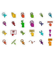 cursors icon set color outline style vector image