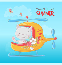 Cute cartoon cat in a helicopter postcard print vector