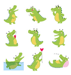 Cute funny crocodiles in different situations set vector