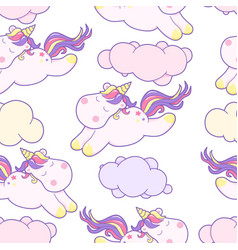 cute kawaii unicorn with magical clouds vector image