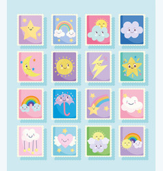 Cute stamps weather fantasy clouds sun moon vector