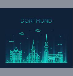 dortmund skyline rhine westphalia germany a vector image