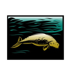 Dugong manatee or sea cow vector