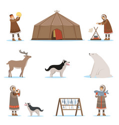 eskimo characters in traditional clothing arctic vector image
