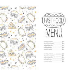 fast food menu template tasty dishes restaurant vector image