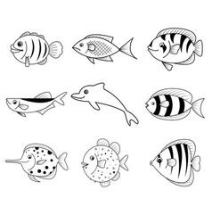 Fish cartoon icons vector