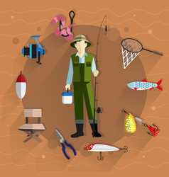 fisherman and fishing tackle vector image