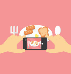 Flat lay mobile food photo hands with phone vector
