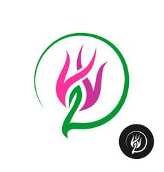 flower abstract logo design elegant violet and vector image