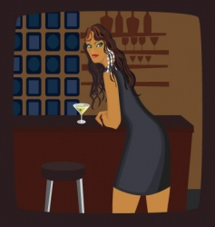 girl at bar vector image