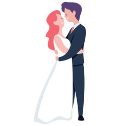 groom and bride on white vector image