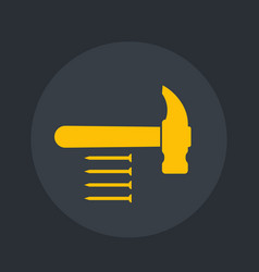 hammer and nails icon vector image