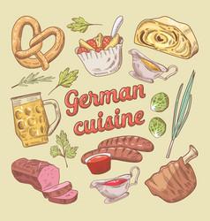 hand drawn german cuisine food doodle vector image