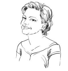 Hand-drawn portrait of white-skin romantic woman vector