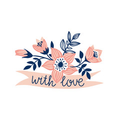 hand drawn ribbon with flowers and stylish phrase vector image