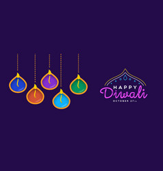 Happy diwali banner hindu holiday diya candles vector