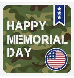 Happy memorial day greeting card vector