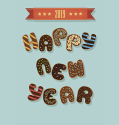 happy new year 2019 chocolate donuts vector image