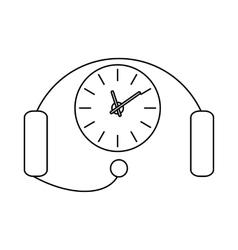 Headset with a clock icon outline style vector image