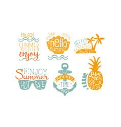 hot summer sale labels set enjoy summer vacation vector image