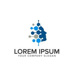 Human intelegent technology logo design concept vector