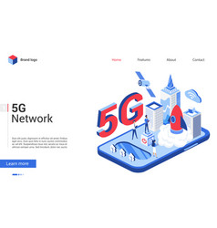 Isometric 5g telecom network technology vector