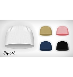 Knitted cap mockup set vector image