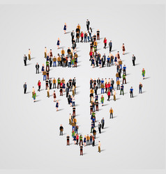 Large group people in cross shape vector