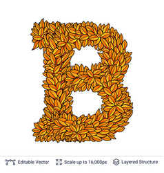 letter b sign of autumn leaves vector image