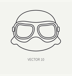 Line flat plain motorcycle icon helmet vector