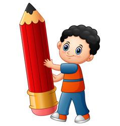 little boy cartoon holding a pencil vector image