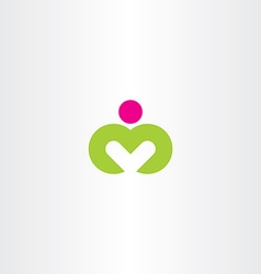 logo m yoga man letter m icon symbol vector image