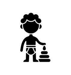 Male toddler black glyph icon vector