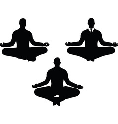 Man silhouette in peaceful pose vector
